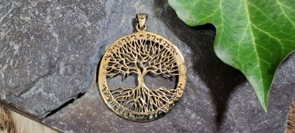 Anhänger FIONA Baum des Lebens mit Elbenschrift aus Bronze