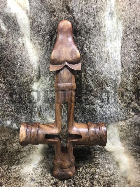 WOLFSKREUZ 49 cm Isländischer Thorshammer Handarbeit aus Holz, Wanddeko