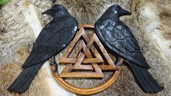 Odins Raben mit Valknut Handarbeit aus Holz HUGIN & MUNIN 22 cm, Wanddeko