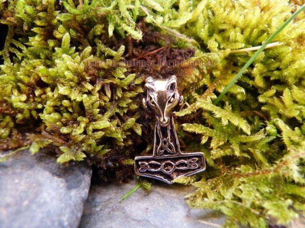 MJÖLNAR kleiner Thorshammer Anhänger Widder aus Bronze