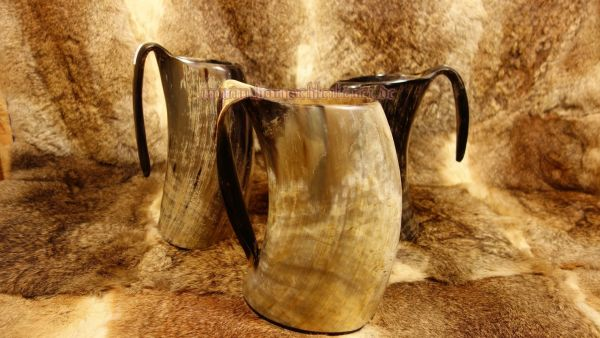 Hornbecher mit Henkel 1500 - 2000 ml aus echtem Horn