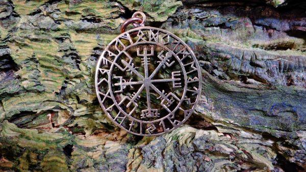 Runen Kompass als Anhänger VEGVISIR Wikinger Kompass Asatru aus Bronze