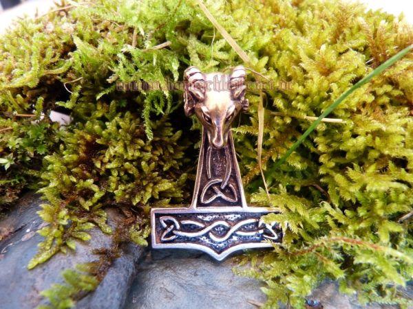 MJÖLNAR großer Thorshammer Anhänger Widder aus Bronze