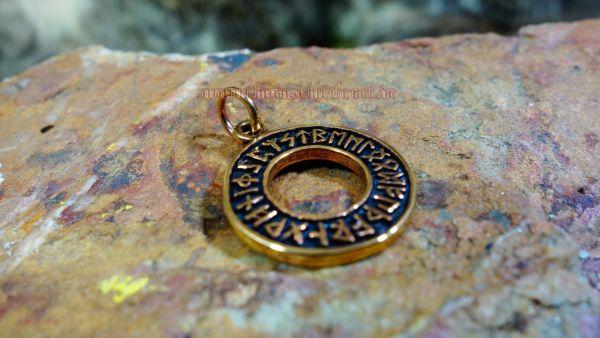 Futhark Anhänger DRUNA Runen im Kreis aus Bronze