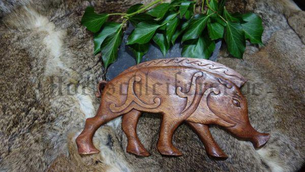 BORSTI 37 cm Keltischer Eber Handarbeit aus Holz, Wanddeko